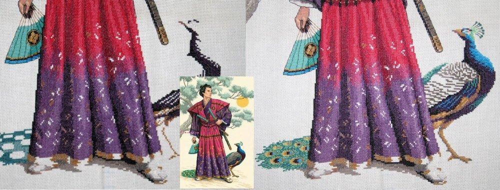 Схема для вышивки самурай с павлином