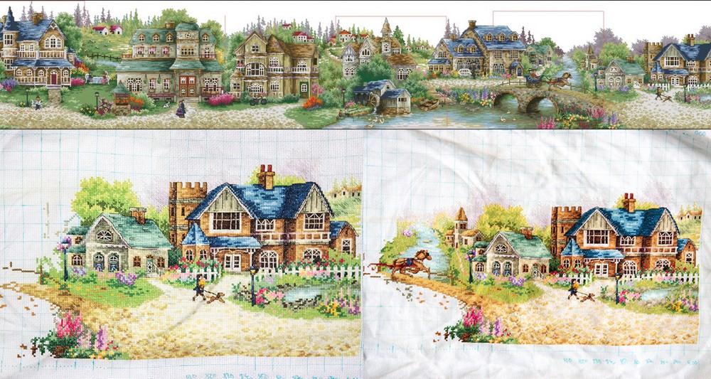 Схема для вышивки зеленая деревенька 69