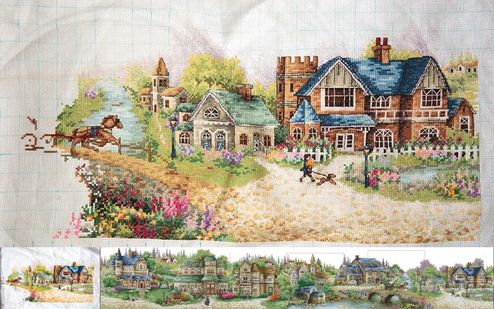 Схема для вышивки зеленая деревенька 15